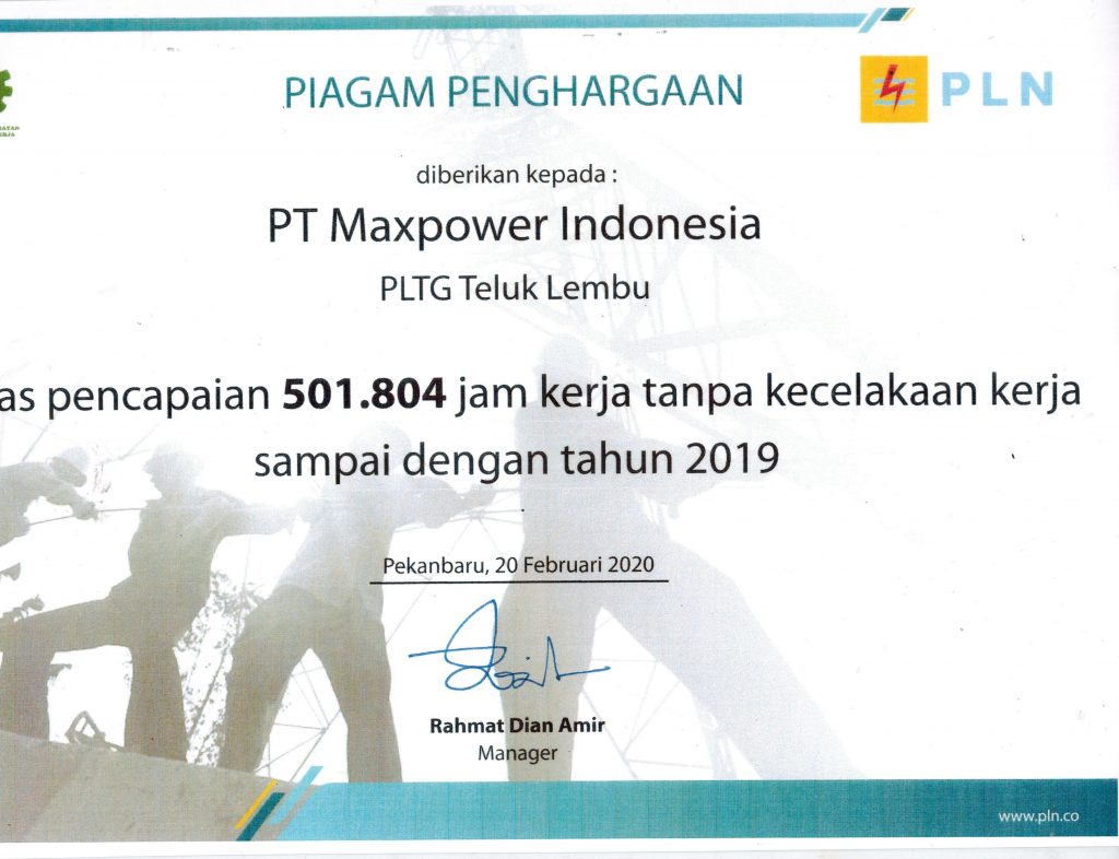 PLTG Teluk Lembu Achievement, 501.804 hours Zero-Accidents from PLN